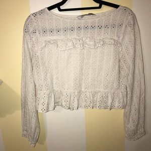 Cute white peasant blouse with cinched sleeves
